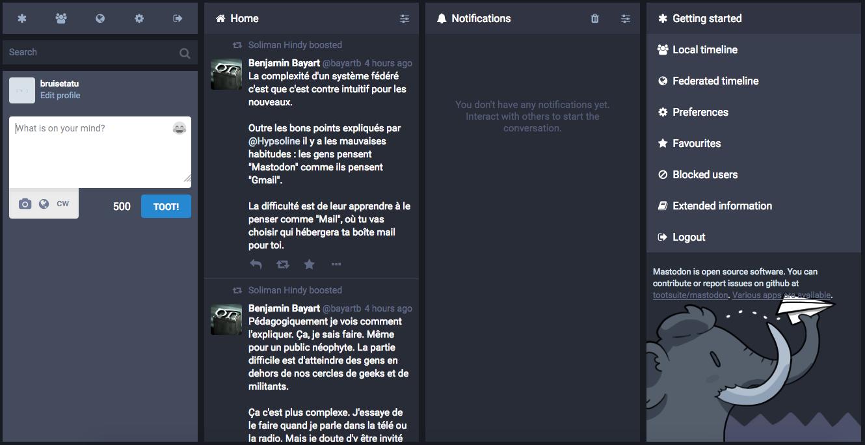 Capture d'écran de mon compte sur Mastodon. Cela ressemble à Tweetdeck.