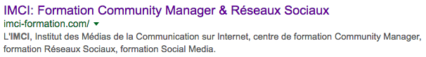 La metadescription de la page d'IMCI sur Google.