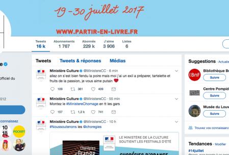 Capture d'écran du Piratage du compte du Ministere de la Culture le 18 juillet 2017
