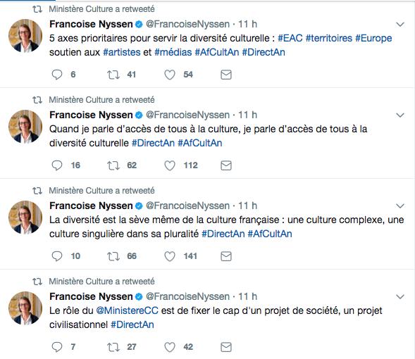 Capture d'écran d'une partie des tweets postés le 18 juillet 2018 sur le compte twitter du Ministère de la Culture