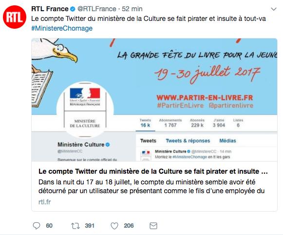RTL publie un article sur le piratage du compte twitter du Ministere de la Culture